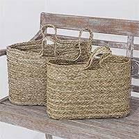 Panadanus leaf tote bags, 'Rustic Essentials' (pair) - Hand Woven Panadanus Leaf Tote Bags or Baskets (Pair)