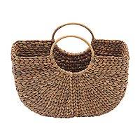 Natural fiber handle handbag, 'Woven Rays' - Hand Woven Water Hyacinth Handle Bag or Basket