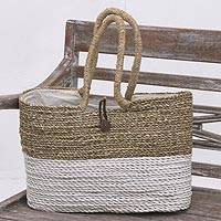 Natural fiber tote, 'From Beach to City' - Natural Fiber Hand Woven White and Beige Tote