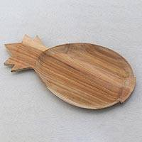 Teak wood serving platter, 'Pineapple Platter' - Teak Wood Handcrafted Pineapple Shaped Serving Platter