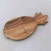 Teak wood serving platter, 'Double Pineapple' - Two Section Teak Wood Pineapple Shaped Serving Platter