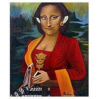 'Javanese Mona Lisa' - Signed Surrealist Mona Lisa Painting from Java