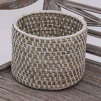 Pandan leaf and cotton basket, 'Natural Carrier' - Handwoven Pandan Leaf and Cotton Basket from Java