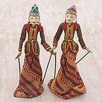 Batik cotton and wood decorative puppets, 'Cosmic Love' (pair) - Two Batik Cotton and Wood Decorative Puppets from Indonesia