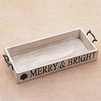 Wood decorative tray, 'Merry & Bright' - Inspirational Wood Decorative Tray with Handles from Java