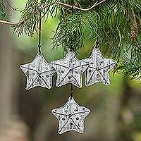 Recycled newspaper ornaments, 'New Life Stars' (set of 4) - Recycled Newspaper Star-Shaped Holiday Ornaments (Set of 4)