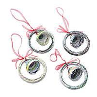 Recycled magazine ornaments, 'Noel Bells' (set of 4) - Recycled Magazine Bell-Shaped Holiday Ornaments (Set of 4)