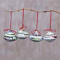 Recycled paper ornaments, 'Recycled Cheer' (set of 4) - Set of Four Recycled Paper Magazine Christmas Ornaments