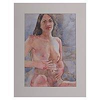 'Nude Woman' - Signed Watercolor Painting of a Nude Woman from Bali