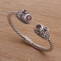 Garnet cuff bracelet, 'Crimson Daydream' - 925 Sterling Silver Rope Cuff Bracelet with Garnet Stones