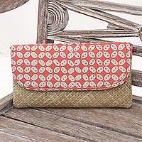 Lontar leaf and cotton batik clutch, 'Truntum Haze' - Red and White Truntum Batik Lontar Leaf and Cotton Clutch