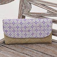 Lontar leaf and cotton batik clutch, 'Truntum Story' - Purple White Batik Truntum Lontar Leaf and Cotton Clutch