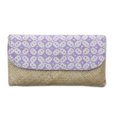 Purple White Batik Truntum Lontar Leaf and Cotton Clutch