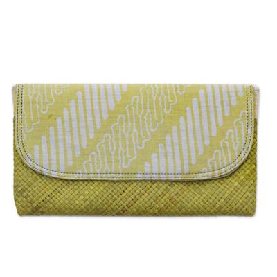 Yellow White Batik Parang Lontar Leaf and Cotton Clutch