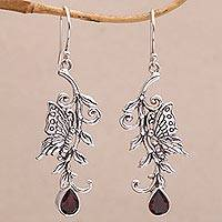 Garnet dangle earrings, 'Beloved Butterfly' - Garnet and Sterling Silver Butterfly Dangle Earrings