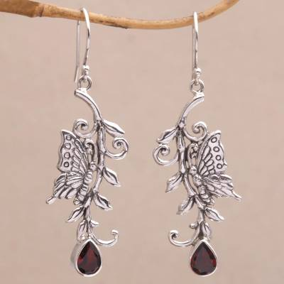 Novica Garnet drop earrings, Elegant Wraps