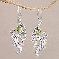 Peridot dangle earrings, 'By the Wind' - Peridot and Sterling Silver Dangle Earrings from Bali