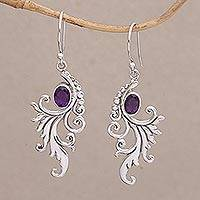 Amethyst dangle earrings, 'By the Wind' - Amethyst and Sterling Silver Dangle Earrings from Bali