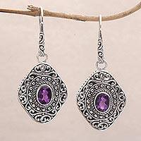 Amethyst dangle earrings, 'Truly Yours' - Amethyst and Sterling Silver Dangle Earrings from Bali