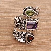 Multi-gemstone wrap ring, 'Elegant Trinity' - Multi-Gemstone and Sterling Silver Wrap Ring from Bali