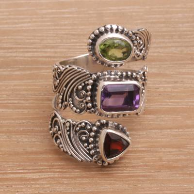 Multi-gemstone wrap ring, Elegant Trinity
