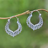 Sterling silver hoop earrings, 'Floral Lairs' - 925 Sterling Silver Floral Curling Tendril Hoop Earrings