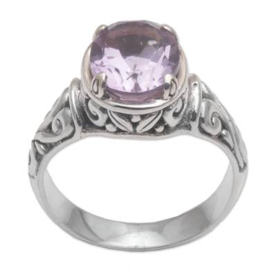 Amethyst cocktail ring, 'Floral Prayers' - 925 Sterling Silver Faceted Amethyst Cocktail Ring