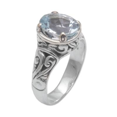 Blue topaz cocktail ring, 'Floral Prayers' - 925 Sterling Silver Faceted Blue Topaz Cocktail Ring