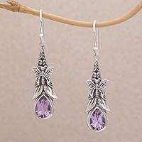 Amethyst dangle earrings, 'Eden Butterflies' - 925 Sterling Silver Butterfly Amethyst Dangle Earrings