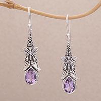 Amethyst dangle earrings, 'Eden Butterflies' - 925 Sterling Silver Butterfly Amethyst Dangle Earrings