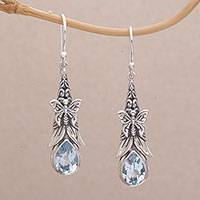 Blue topaz dangle earrings, 'Eden Butterflies' - 925 Sterling Silver Butterfly Blue Topaz Dangle Earrings
