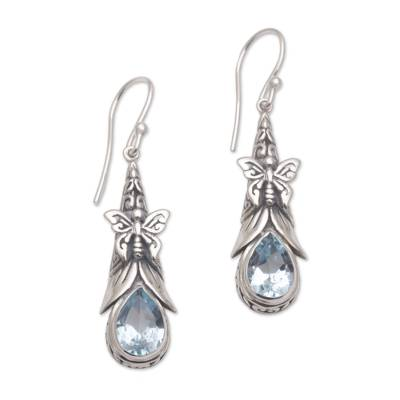 925 Sterling Silver Butterfly Blue Topaz Dangle Earrings