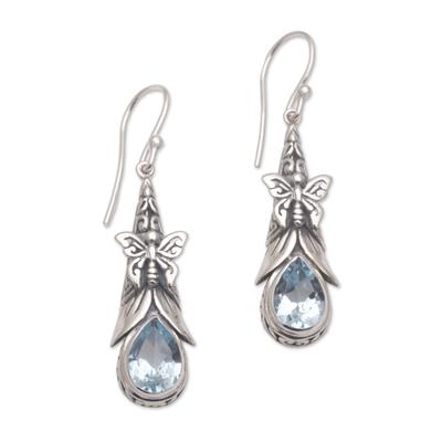 Blue topaz dangle earrings, 'Eden Butterflies' - 925 Sterling Silver Butterfly Blue Topaz Dangle Earrings