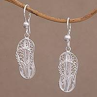 Sterling silver filigree dangle earrings, 'Java Slippers' - Javanese Filigree Sterling Silver Slipper Dangle Earrings