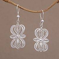 Sterling silver filigree dangle earrings, 'Heavenly Blossom' - Javanese Filigree Sterling Silver Flower Dangle Earrings