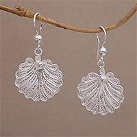 Sterling silver filigree dangle earrings, 'Shell Shimmer' - Javanese Filigree Sterling Silver Shell Dangle Earrings