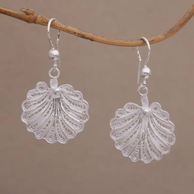 Novica Sterling silver filigree half-hoop earrings, Infinite Spirals