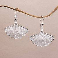 Sterling silver filigree dangle earrings, 'Exquisite Fan' - Javanese Filigree Sterling Silver Fan Dangle Earrings