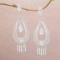 Sterling silver filigree dangle earrings, 'Enchanting Temple' - Filigree Sterling Silver Dangle Earrings Handmade in Java
