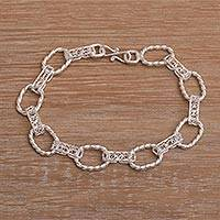 Sterling silver filigree link bracelet, 'Eternal Connection' - Filigree Sterling Silver Link Bracelet from Indonesia