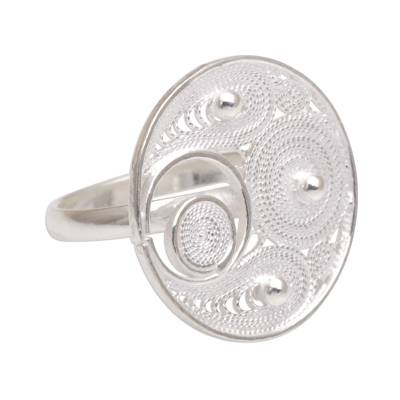 Filigree Sterling Silver Cocktail Ring from Indonesia