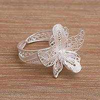 Sterling silver filigree cocktail ring, 'Jasmine Allure' - Filigree Sterling Silver Floral Cocktail Ring from Indonesia
