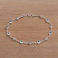 Featured review for Blue topaz link bracelet, Sky Serenade