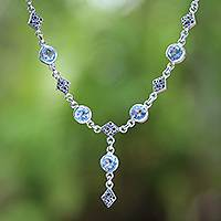 Blue topaz link necklace, 'Sky Serenade' - Blue Topaz and Sterling Silver Link Necklace from Bali