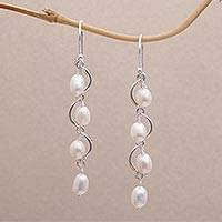 Cultured pearl dangle earrings, 'Heavenly Peaches' - Wavy Cultured Pearl Dangle Earrings from Bali
