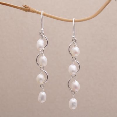 Cultured Pearl Dangle Earrings Heavenly Trail Wavy From