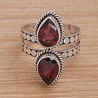 Garnet cocktail ring, 'Twin Promise' - Garnet and Sterling Silver Cocktail Ring from Bali