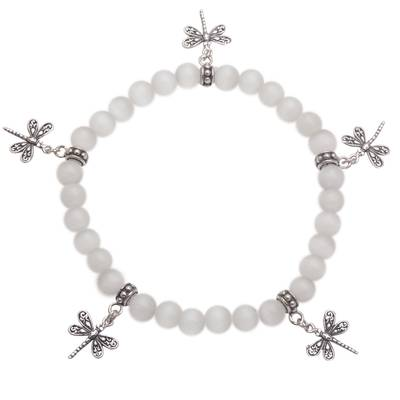 Sterling Silver Dragon Fly Beaded Stretch Charm Bracelet