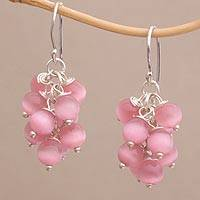 Cat's eye dangle earrings, 'Pink Fruit' - Cat's Eye Cluster Dangle Earrings from Bali