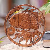 Wood relief panel, 'Lucky Goldfish' - Handcrafted Suar Wood Goldfish Relief Panel from Bali